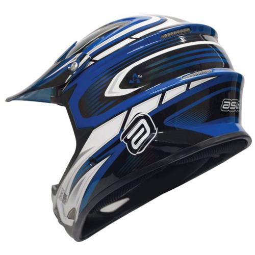 Capacete Motocross Imp Asw Extreme Preto Azul Branco