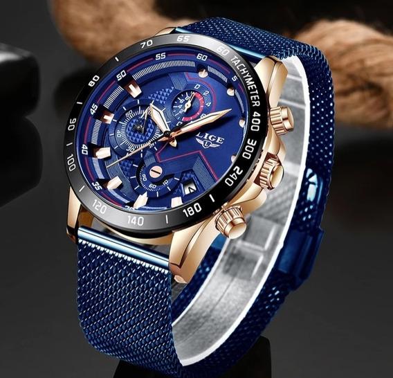 Relógio Esportivo Casual Masculino De Luxo Lige Azul Moderno Calendário Pulseira Aço Inoxidável Confortável E Ajustável
