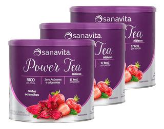 Kit 3x Power Tea Hibiscus 200g Frutas Vermelhas Sanavita