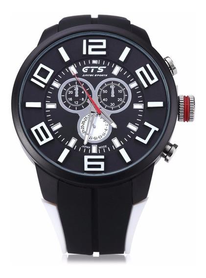 Relógio Masculino Grande Borracha Preto Analógico Esportivo