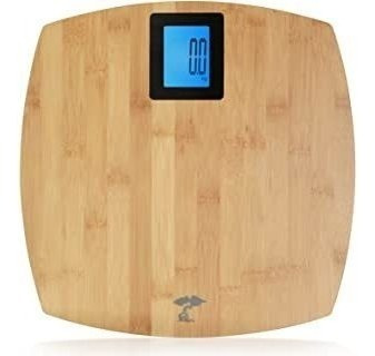 Deluxe Bamboo Bathroom Scale. Backlit Large Display. 400lb C