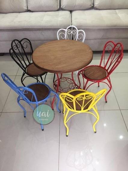 Conjunto Jogo Mesa 4 Cadeira Ferro Madeira Restaurante