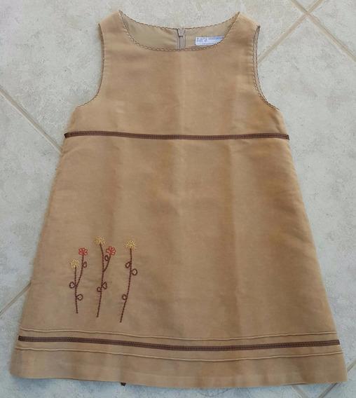 Vestido Infantil Zara Veludo Forrado Outono Inverno Tam 3
