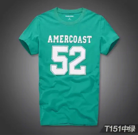 Camiseta Masculina Slim Fit Verde Agua Malha Grossa Algodão