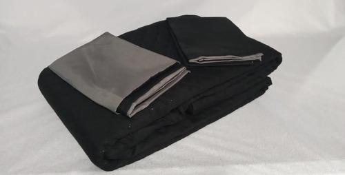 Comforter Negro Liso Gris Microfibra Semidoble