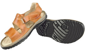 Sandalia Papete Chinelo Couro Antistress Ortopedico Masc 46
