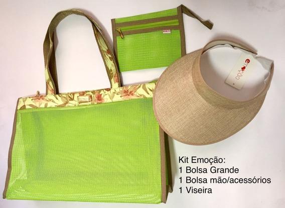 Kit Praia Bolsa + Viseira + Bolsa Acessorio Diversas Cores