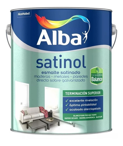 Esmalte Sintetico Satinado Al Agua Satinol Alba 1lt Pintumm