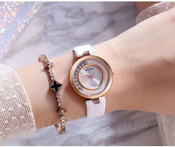 Relógio Feminino Casual Luxo Importado Couro Branco