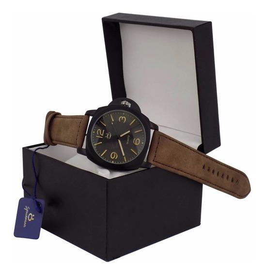 Relógio Masculino Preto Spaceman Couro Original + Caixa