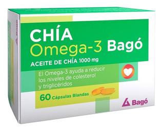Aceite De Chia Bago 1000mg Omega 3 Colesterol X 60 Capsulas
