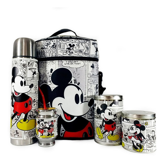 Equipo De Mate Completo Mickey Minnie Cuero Set Kit Matero
