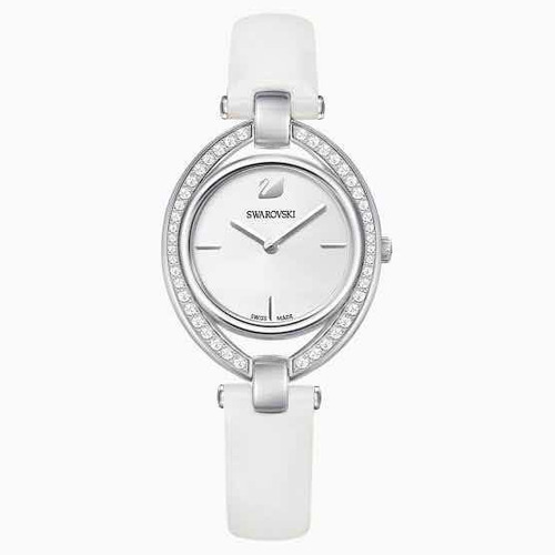 Relógio Stella, Pulseira De Couro, Branco, Revestido A Ródio