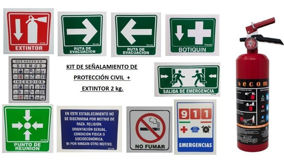 Kit-paquete Señalamientos De Protección Civil + Ext. 2.0 Kg
