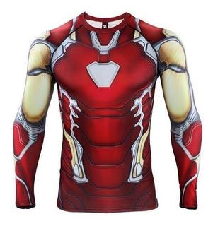 Camisa Compresion Marvel Avengers Endgame Iron Man Mark 85 Playera Hombre Manga Larga Licra Crossfit Gym Rashguard