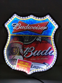 Placa Decorativa Luminosa Budweiser Bar Led
