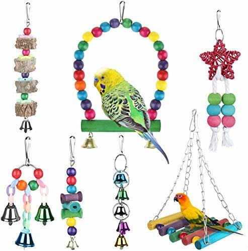 Imagen 1 de 7 de Zacro - 7 Juguetes Para Columpios De Pájaros, Loros, Colorid