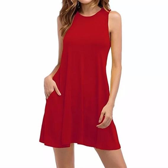 Vestido Plus Size Regata Trapézio Com Bolso Verão Ref 20