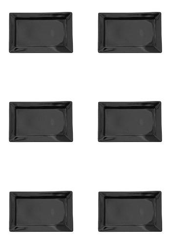 Plato Postre Rectangular Negro X6 Oxford Bazar Colucci