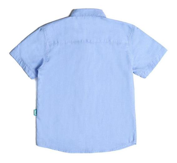 Camisa Infantil Jokenpô Cambraia Masculina Azul Clara