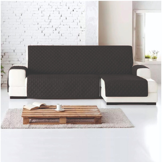 Protector Sofa L Derecha Chaise Longue Normal Negro - Gris