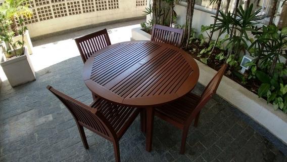 Mesa De Madeira Com 4 Cadeiras Tramontina