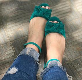 Rasteirinha Feminina Laço Verde Sandália Laço Verde Musgo