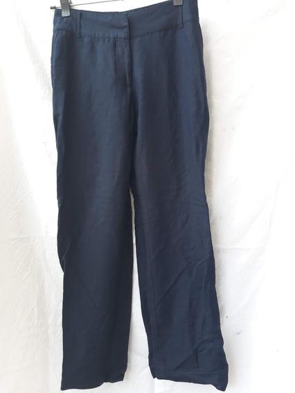 Pantalón De Vestir Mujer Evoque Talle 40 Azul Lino Rayon