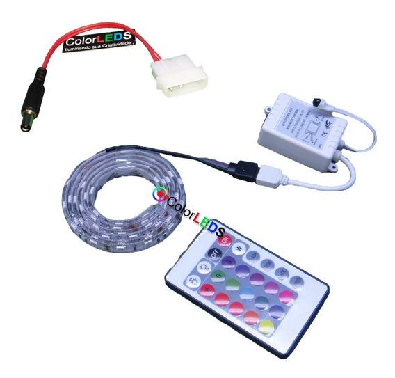 Fita Led Rgb Computador Molex 2 Metros Pc Tuning Placa Mãe
