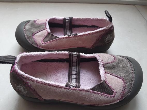 Crocs Con Piel Zapatos Chatitas Niñas Talle 31 Original