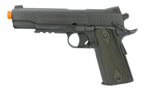 Imagem 1 de 4 de Pistola Airsoft Co2 Colt 1911 Rail Gun Black Slide Metal 6mm