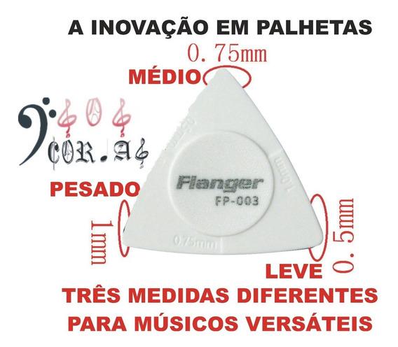 10 Palhetas 3 X 1 Flanger 0,5-0,75-1mm Guitarra Baixo Violão - Cor Branca