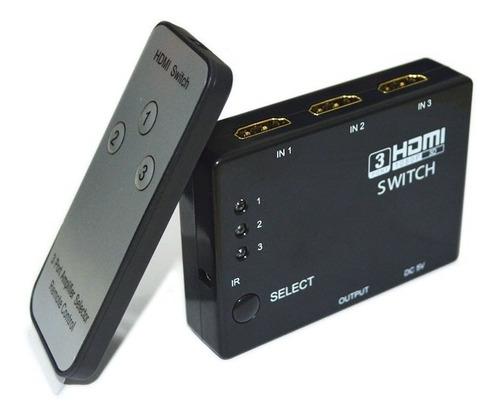 Switch Selector Hdmi 3 Puertos De Entrada Control Remoto 4k