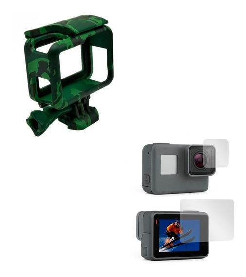 Armação Frame Gopro Hero 5 6 7 + Películas Tela E Lente