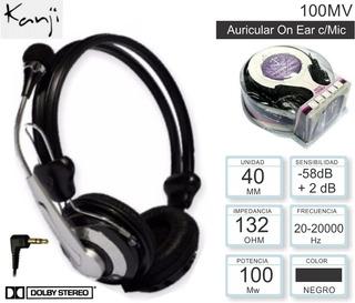 Auriculares Kanji Kj-100mw Con Micrófono 100 Mw