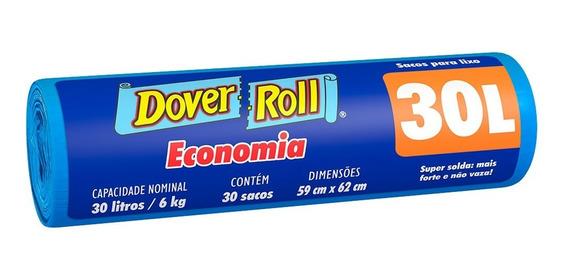 Saco Para Lixo 30lt Azul Economia Dover