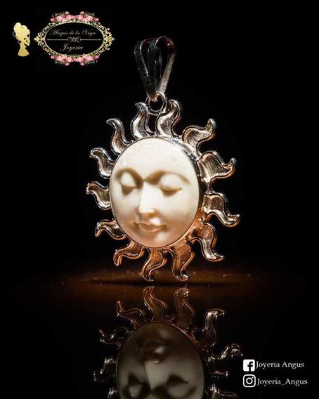 Dije Amuleto En Forma De Sol De Hueso Y Plata .925