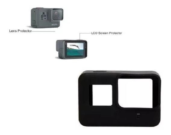 Kit Gopro 5 6 Black Capa De Silicone Protetora Com Películas