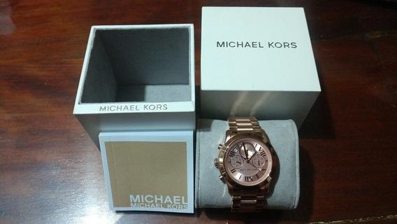 Reloj Original Michael Kors Oro Rosado Unisex Caja Abierta