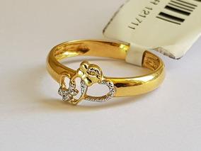 Anel Dois Corações Vazados Ouro 18k Lacinho Em Ouro Branco