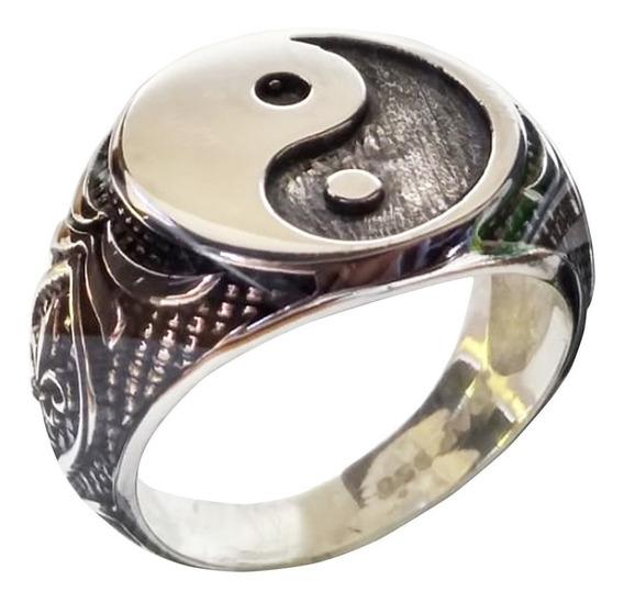 Anel Yin Yang Tao De Prata Maciça 950 Certificado Garantia