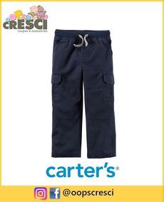 Calça Cargo Azul Masculino Bolsos Laterais Carter