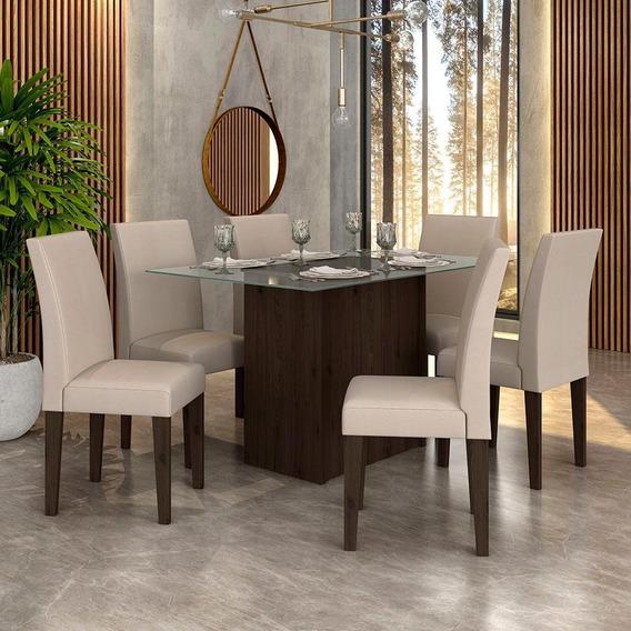 Conjunto Sala De Jantar Davos 6 Cadeiras C/ Vidro