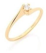 Anel Solitário Fino Noivado Casamento Joia Rommanel 510516