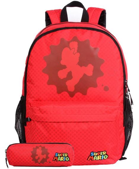 Kit Mochila Escolar Super Mario Classic G 11530 + Estojo