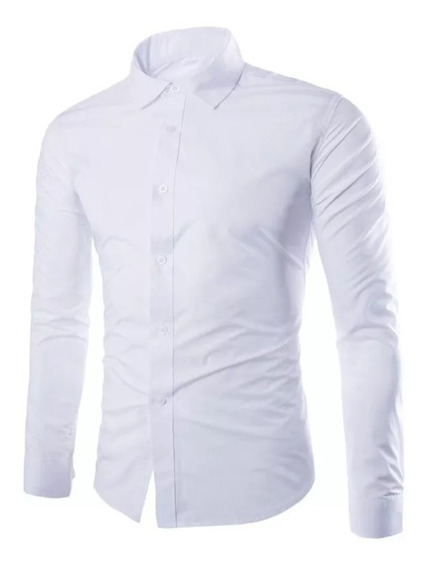 Pack X 10 Camisas Lisas Entalladas Elástizadas Slim Fit