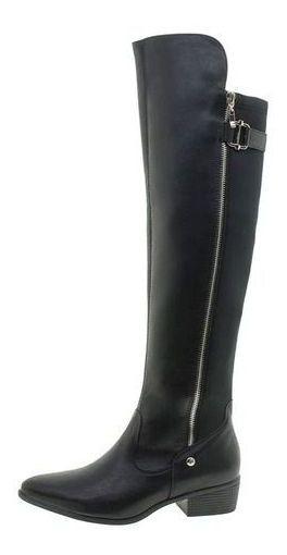 Bota Feminina Over The Knee Preta Via Marte Original Calçado