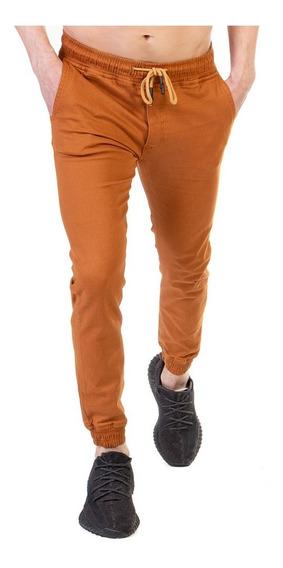 Pantalón Jogger Gabardina Stretch Hombre Color Bronce
