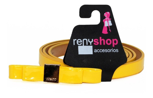 Cinturón Dama Moda Moño Amarillo Vintage Vinil Fashion Cu15