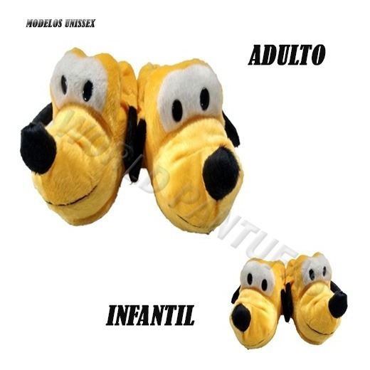 Pantufas Unissex Disney Pluto Revenda Pelucia Solado Emborrachado Adulto E Infantil Feitas A Mão Promoção